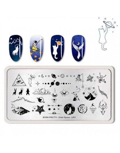 Urodzony dość paznokci tłoczenia płyty zewnętrzna kosmicznej serii księżyc gwiazda do dekoracji paznokci (kształt prostokątny) s