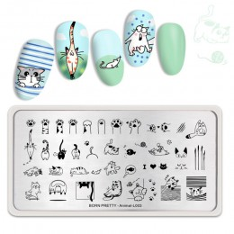 Urodzony PRETTY zwierząt prostokąt paznokci tłoczenia płyty śliczne koty paznokci artystyczny obraz wzornik motyw zwierząt L003