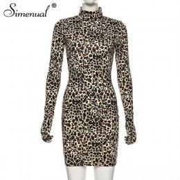 Simenual Leopard Sexy Hot Women sukienka z rękawiczkami z długim rękawem smukły strój klubowy moda Bodycon Mini sukienki jesień