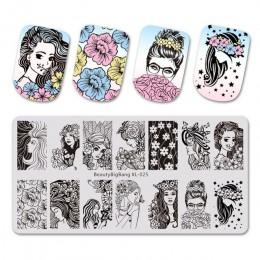 BeautyBigBang tłoczenie do paznokci piękna młoda dziewczyna ze obrazem kwiatu szablon Stamper paznokci narzędzie do zdobienia pa