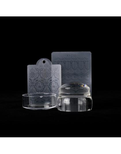 3 sztuk okrągłe silikonowe przezroczysty miękki matryca do warstwa pieczątek do paznokci galaretki Marshmallow ręcznie z skrobak