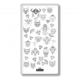 Kreatywna geometria głowa zwierzęcia szablon tłoczenia paznokci negatywna przestrzeń Puzzle tygrys kot świnia pieczęć paznokci M