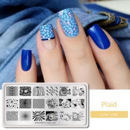 BORN PRETTY płytki do tłoczenia paznokci multi-patterns do dekoracji paznokci (kształt prostokątny) szablon obrazu Stamp szablon