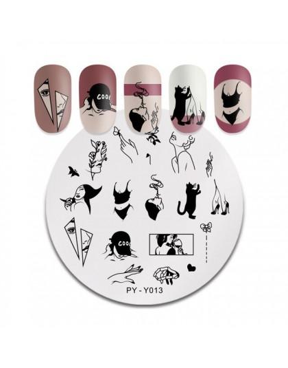 PICT You okrągła płytka do stemplowania tatuaż ze stalowymi ćwiekami obrazek szablony do zdobienia paznokci pokryte obrazkami na