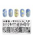 PICT YOU prostokątne płytki do tłoczenia paznokci wzór geometryczny obraz ze stalowymi ćwiekami Art szablon drukowania płyt J003