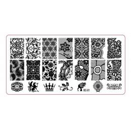 10 wzorów plastikowa płytka do stemplowania-1 sztuk/partia seria BC kwiat koronki szablon obrazu Nail artystyczny obraz tłoczeni