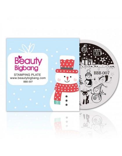 BeautyBigBang 5.6*5.6 Cm okrągła seria bożonarodzeniowa 2 szablon tłoczenia paznokci obraz polski Transfer narzędzia DIY do zdob