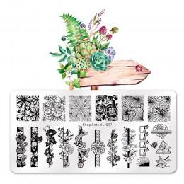 SHOPANTS 6*12CM prostokąt kwiat wzór liści obraz pieczątka na paznokcie szablony geometryczne tłoczenie paznokci płyty Manicure