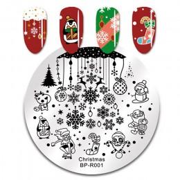 BORN PRETTY Christmas Snow płytka do stemplowania paznokci jeleń okrągły szablon warstwa pieczątek do paznokci
