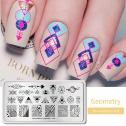 BORN PRETTY geometryczne szablony do stemplowania paznokci szablony do stemplowania paznokci 304 ze stalowymi ćwiekami drukowany