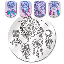 Urodzony dość okrągły paznokci płytka do stemplowania geometria łapacz pióro balet łabędź wymarzony kwiat Manicure Nail Art szab