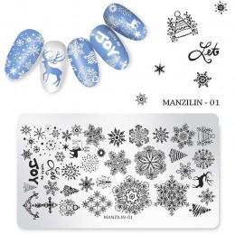 Świąteczne wzory laserowy szablon do stemplowania paznokci płytki Stamper DIY polski obraz wydruku 12*6cm Manicure książki akces