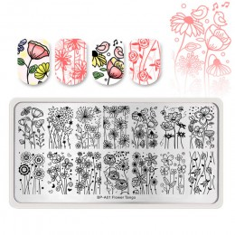 Urodzony PRETTY kwiat zwierzęta paznokci tłoczenia płyty Madanla motyl prostokąt szablon stempla szablon drukowania narzędzia
