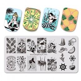 6*12cm szablony do tłoczenia paznokci wzornik ze stali nierdzewnej Vintage marmur geometryczny Nail Art DIY Design szablon do pa