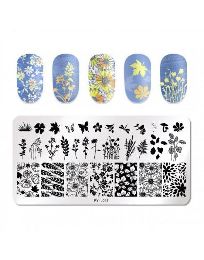 PICT YOU Lavender Butterfly Flower Leaves obraz płytki do tłoczenia paznokci paski linia geometryczna płyta szablony ze stali ni