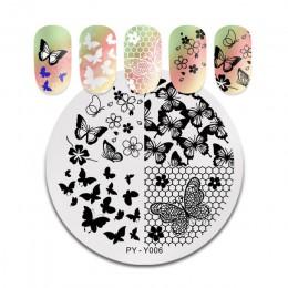 PICT YOU płytki do stemplowania paznokci koronki kwiat liść szablony do stemplowania motyli DIY wzory do paznokci DIY tabliczka