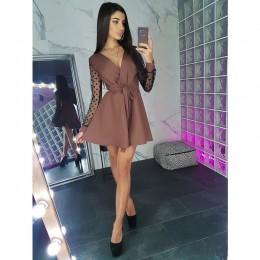 Seksowne szarfy v Neck Party Dress kobiety z długim rękawem Lace Patchwork linia elegancka sukienka 2019 jesień kobieta Club Par