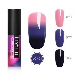 LILYCUTE termiczna żelowy lakier do paznokci 5ml 3 warstwy, zmieniający kolor, zmieniający kolor lakier do paznokci UV LED lakie