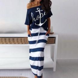 Fanbety kobiety sexy off shoulder zestawy dwuczęściowe sukienka kotwica łodzi koszule z nadrukiem sukienka w paski zestawy Lady