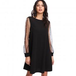 SHEIN eleganckie sukienki damskie perła siateczka z perełkami rękaw sukienka tunika jesień czarna sukienka z dekoltem w łódkę z