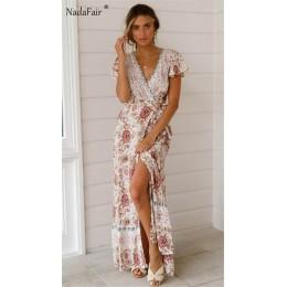 Nadafair Vintage, w kwiaty Maxi sukienki elegancka plaża Sash Sexy V Neck podział sukienka z nadrukiem długa letnia sukienka Boh
