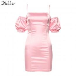 Nibber jesień francuski romans nocna impreza wiązana sukienka sukienka kobiety 2019 różowy biały elegancki off shoulder club dop