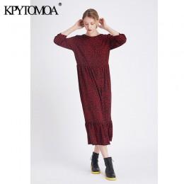 Vintage stylowy wzór w cętki potargane Midi sukienka kobiety 2020 moda O Neck rękaw 3/4 eleganckie sukienki Vestidos Mujer