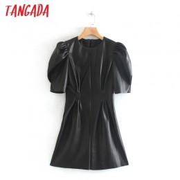 Tangada kobiety czarna sztuczna skóra sukienka w stylu Vintage z krótkim rękawem 2019 Zipper kobieta plisowana tunika Mini sukie