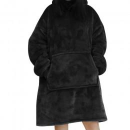 Kobiety obszerna bluza z kapturem koc bluza koral koc z polaru ciepły płaszcz zimowy panie Giant Hoody swetry Sudadera Mujer 202