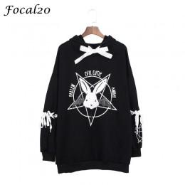 Focal20 Harajuku nadruk z pentagramem zasznurować kobiety bluzy z polaru Gothic Punk Oversize aksamitna bluza z kapturem sweter