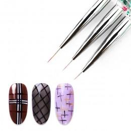 3 sztuk/zestaw żel UV rysunek malarstwo paznokci pędzelek do kresek tipsy akrylowe pióro paznokcie typu french mieszane kolory g