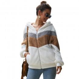 Lossky bluza z kapturem Top kobiety w paski patchworkowa kurtka z długim rękawem pluszowe znosić kobiet jesień zima panie ciepłe