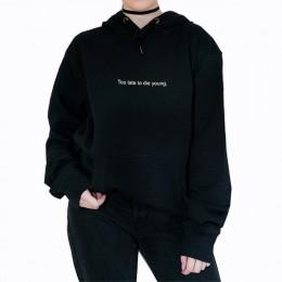 Bluza z kapturem w stylu harajuku damska estetyczna bluza z kapturem zbyt późno, aby umrzeć młoda bluza pastelowa gotycka Grunge