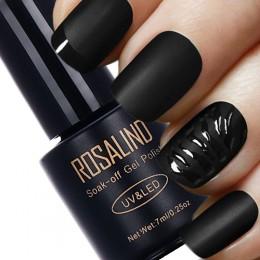ROSALIND czarna butelka 7ML matowa warstwa wierzchnia żelowy lakier do paznokci Nail Art żelowy lakier do paznokci UV LED Soak-O