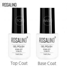 ROSALIND 7ml płaszcz podstawowy i warstwa wierzchnia zestaw żelowy lakier do paznokci Soak Off długotrwały UV LED lakier żelowy