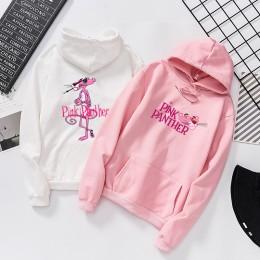 Qrxiaer Fashion Cartoon różowa pantera bluza damska bluza jesień bluzy Streetwear długi rękaw kobiety dziewczyna płaszcz zimowy