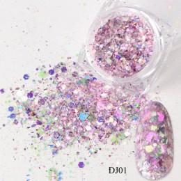 1 Box paznokci syrenka Glitter płatki świecący 3D sześciokąt kolorowe cekiny Spangles polski Manicure dekoracje do zdobienia paz