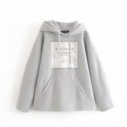 Tangada kobiety list bluza ocieplana z nadrukiem bluza z kapturem bluzy moda oversize damskie swetry ciepła kieszeń z kapturem k