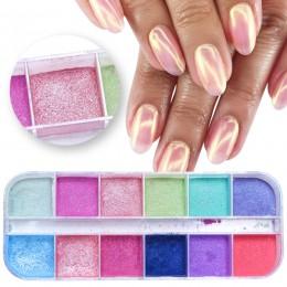 12 siatki chromowany proszek do paznokci zanurzenie Shimmer pył kolorowy proszek pigmentowy tarcie perłowy brokat do paznokci de