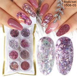 8 Box Mix Glitter Nail Art Powder płatki zestaw holograficzne cekiny do Manicure polerowanie ozdoby do paznokci lśniące porady L