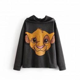 Whithered BTS 2019 zima bluzy z kapturem kobiety high street vintage cartoon lew drukowanie oversize bluza z kapturem bluza kobi