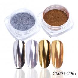 Lustro Nail Art Glitter Powder holograficzna metaliczna róża złoto Sliver pył cekiny UV żel do paznokci Chrome Pigment dekoracja
