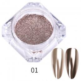 1 Box 0.3g paznokci brokat w proszku z efektem lustrzanym pył złoty szampan srebrna róża złoty metal efekt metaliczny efekt Nail