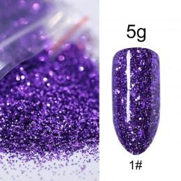 5 g/worek sypki brokat do paznokci dla majsterkowiczów zdobienie paznokci dekoracje fioletowy niebieski srebrny Pigment do pazno