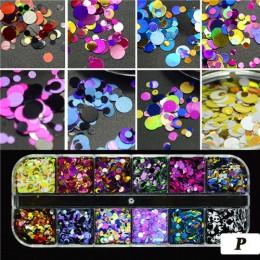 1 zestaw ultracienkich cekinów Nail Art Glitter Mini Paillette kolorowe okrągłe 3d ozdoby do paznokci mieszane rozmiar akcesoria