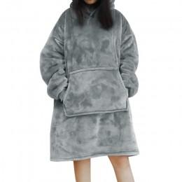 Obszerna bluza z polaru damska męska unisex z kapturem długim rękawem kieszeniami luźna oversize modna wygodna