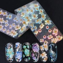 16 sztuk/zestaw Mix białe koronki folie do transferu na paznokcie holograficzne kwiaty wzory paznokci naklejki kalkomania okłady