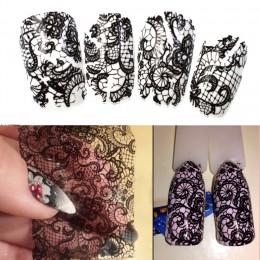 100 cm x 4 cm nowy 2019 czarny koronki folia transferowa Nail Art Sexy pełna okłady kwiat klej DIY Manicure narzędzia do styliza