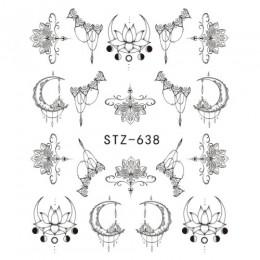 1 arkusze woda Transfer paznokci naklejki wzór proste czarne wzory DIY moda porady dla Nail Art Watermark Decor TRSTZ638-658