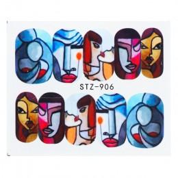 1 sztuk paznokci naklejki abstrakcyjna linia obrazu suwaki wody kolorowe twarzy Nail Art Transfer naklejka Manicure Wrap dekorac